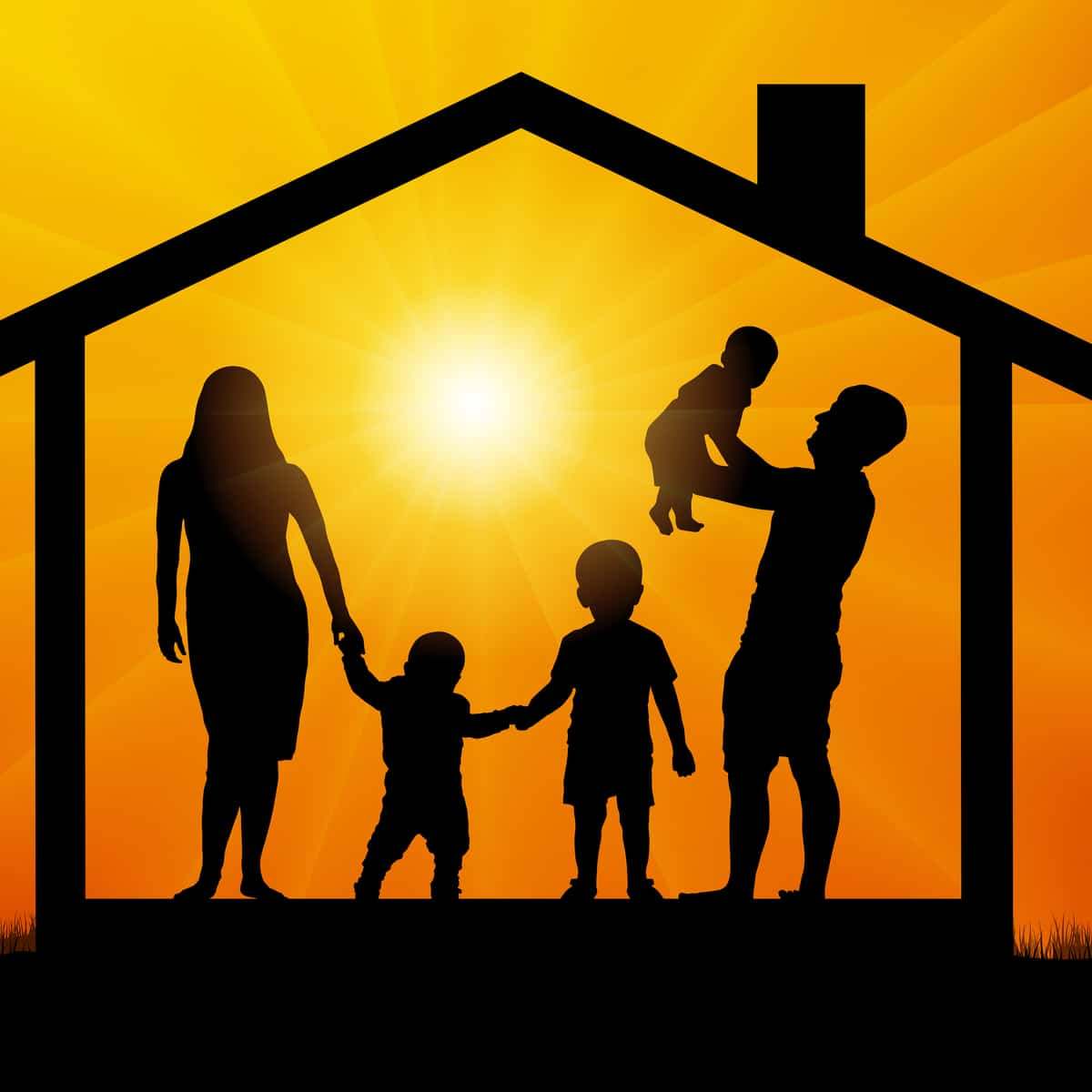 Silhouette of family in home