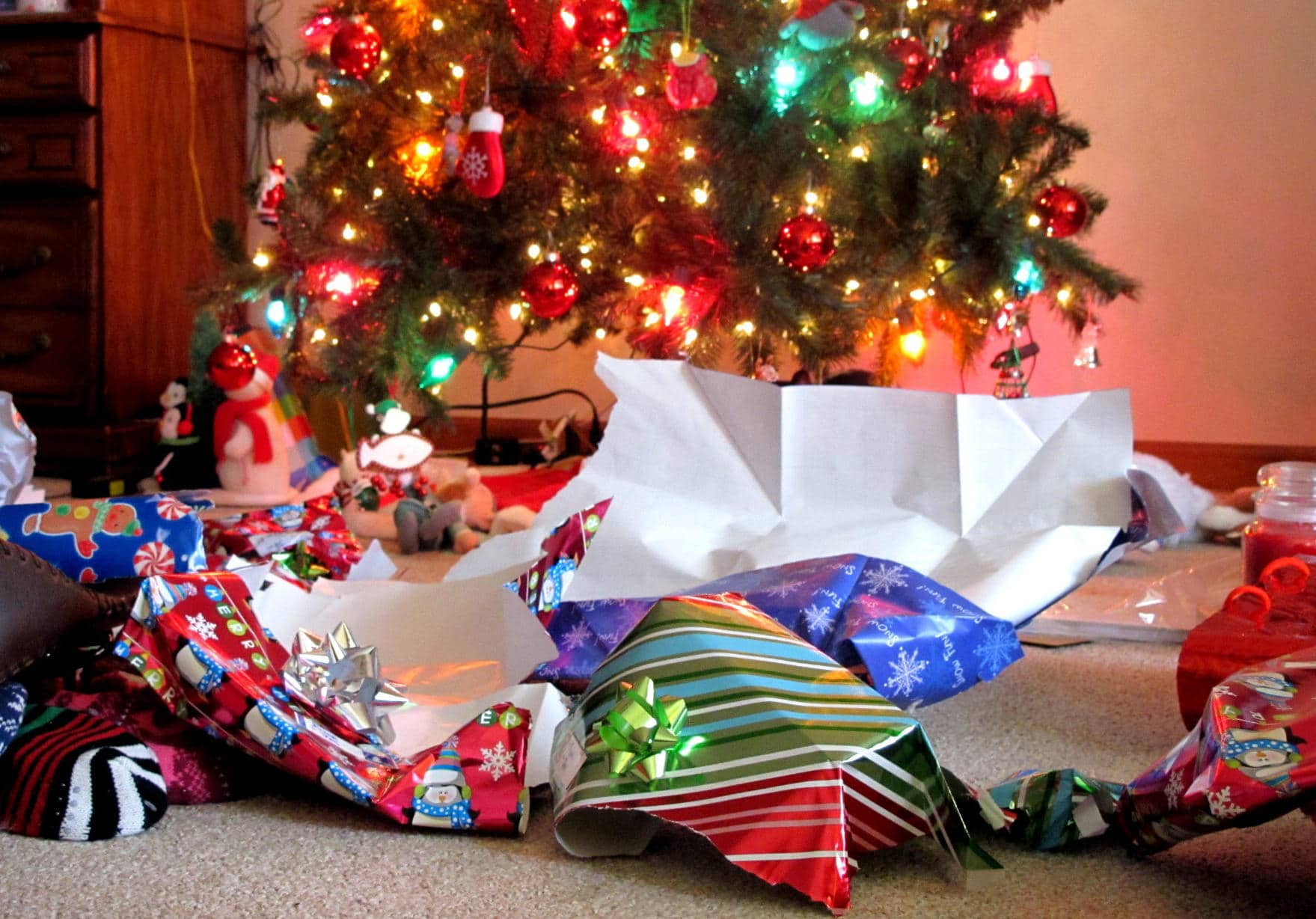Unwrapped Christmas Gifts